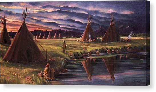 Encampment At Dusk Canvas Print