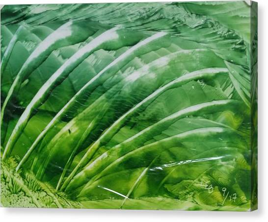 Encaustic Abstract Green Fan Foliage Canvas Print
