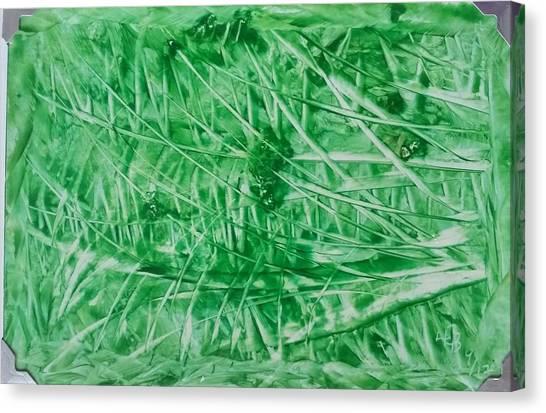 Encaustic Abstract Green Foliage Canvas Print