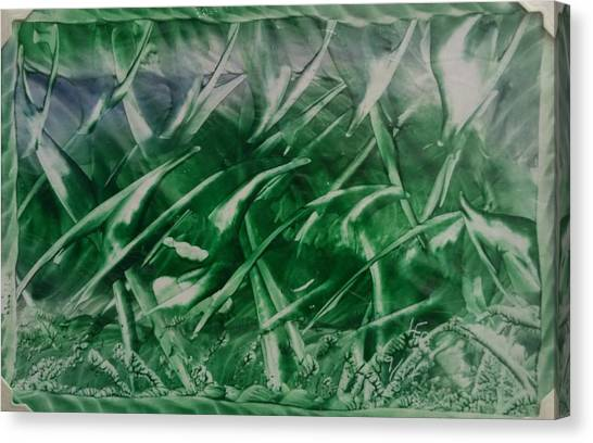 Encaustic Green Foliage With Some Blue Canvas Print