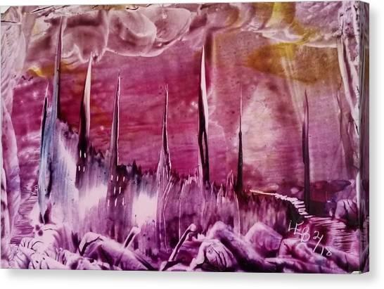 Encaustic Purple-pink Abstract Castles Canvas Print