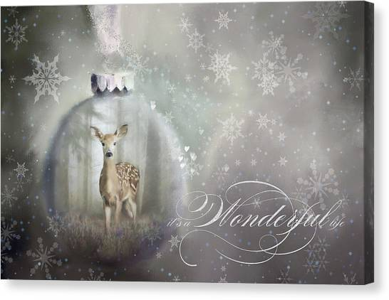 Canvas Print - Enchanted Christmas Doe  by Amanda Lakey