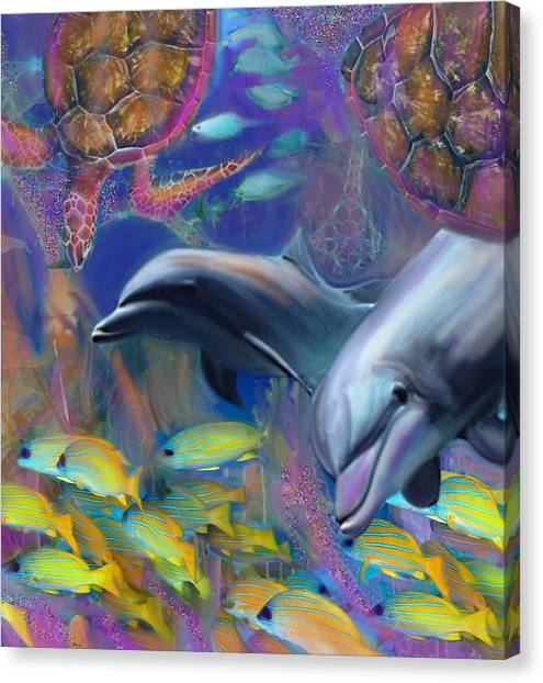 Enchanted Dolphins Canvas Print