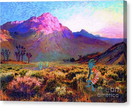 Native Americans Canvas Print - Enchanted Kokopelli Dawn by Jane Small