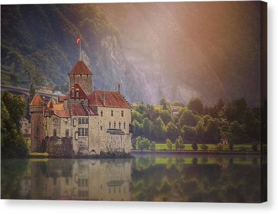 Fortification Canvas Print - Enchanting Chateau De Chillon Montreux Switzerland  by Carol Japp
