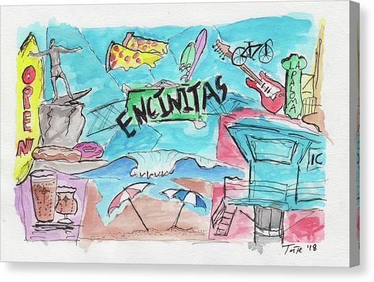 Craft Beer Canvas Print - Encinitas California by Tate MacDowell