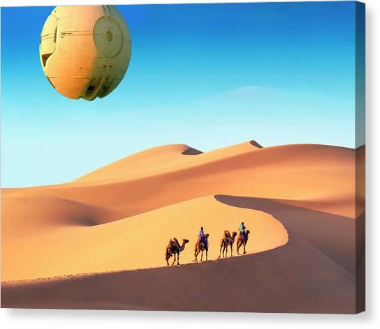 Gobi Desert Canvas Print - Encounter In The Gobi by Dominic Piperata