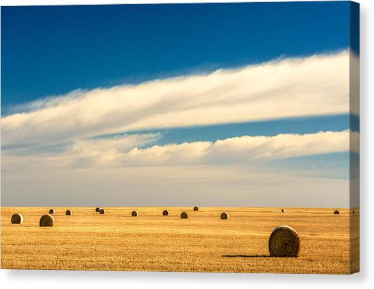 Hay Bales Canvas Print - End Of Autumn by Todd Klassy