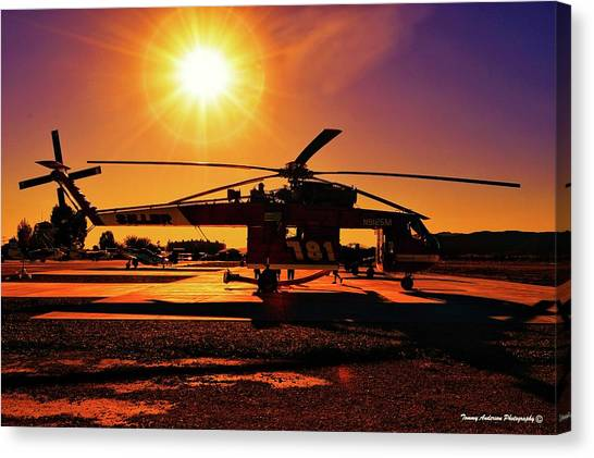Skycrane Canvas Print - End Of The Day At Air Attack by Tommy Anderson