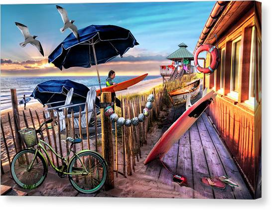Surfboard Fence Canvas Print - End Of The Day By The Sea by Debra and Dave Vanderlaan