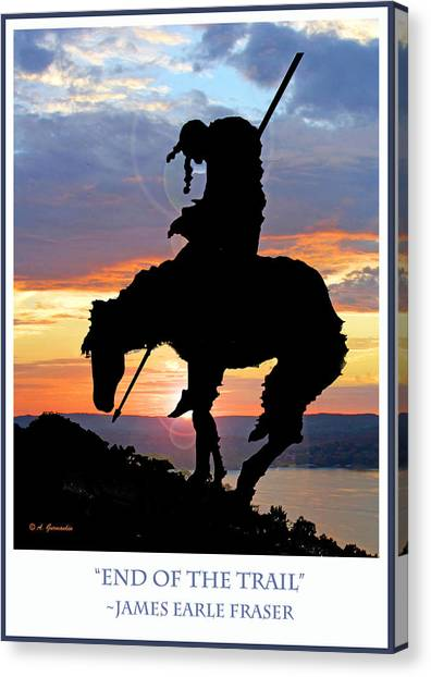 End Of The Trail Sculpture In A Sunset Canvas Print