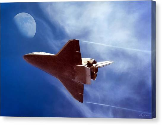 Space Ships Canvas Print - Endeavour Return by Peter Chilelli