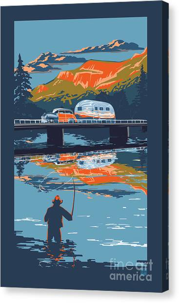 Fly Fishing Canvas Print - Enderby Cliffs Retro Airstream by Sassan Filsoof