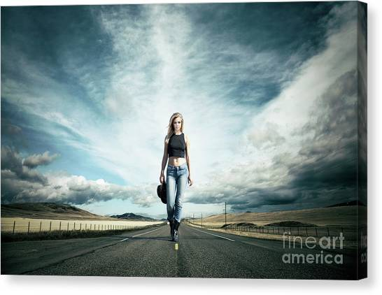 Cowboy Canvas Print - Endless Road To Happiness by Evelina Kremsdorf