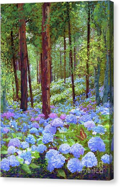 Japanese Gardens Canvas Print - Endless Summer Blue Hydrangeas by Jane Small
