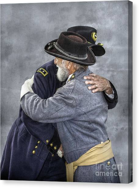 Confederate Army Canvas Print - Enemies No Longer Civil War Grant And Lee by Randy Steele