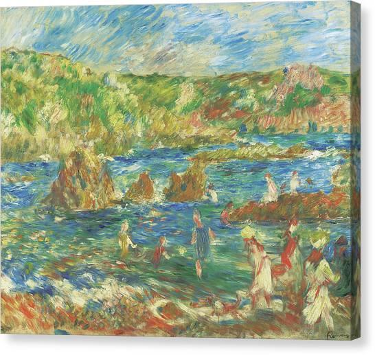 Pierre-auguste Renoir Canvas Print - Enfants Sur La Plage Guernsey, C 1883  by Pierre Auguste Renoir