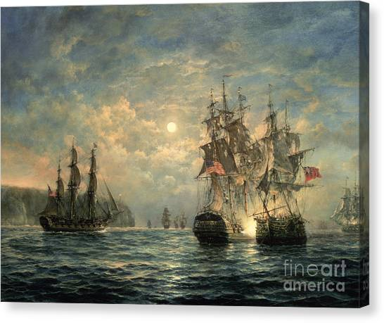 Battleship Canvas Print - Engagement Between The 'bonhomme Richard' And The ' Serapis' Off Flamborough Head by Richard Willis