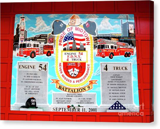 Nyfd Canvas Print - Engine 54 And 4 Truck 911 Memorial by John Rizzuto