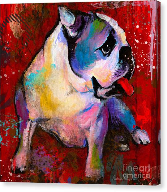 English American Pop Art Bulldog Print Painting Canvas Print