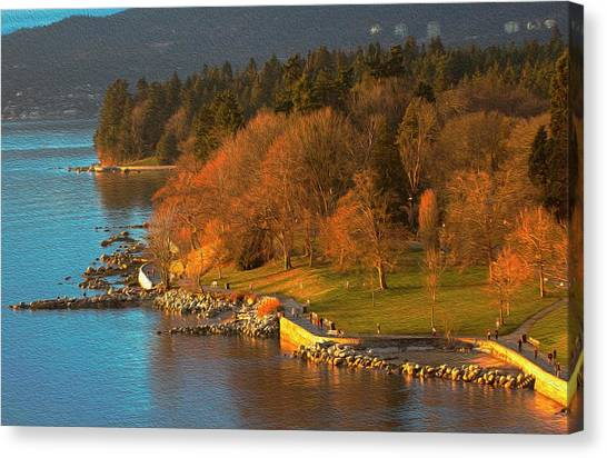 English Bay At Golden Hr. Canvas Print