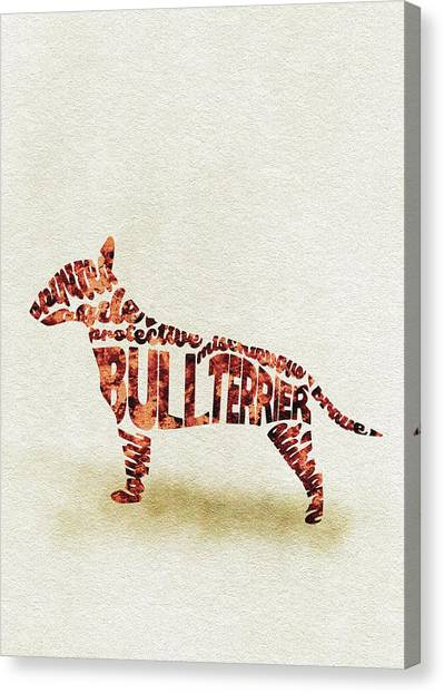 English Bull Dogs Canvas Print - English Bull Terrier Watercolor Painting / Typographic Art by Inspirowl Design