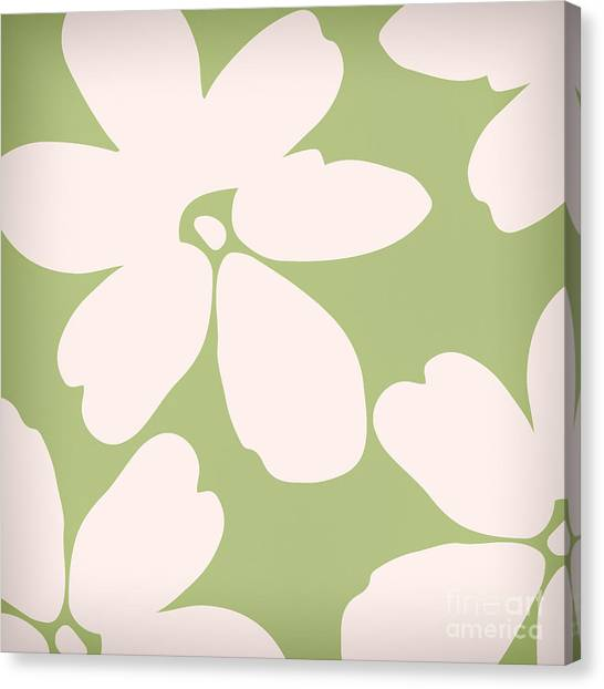 White Flower Canvas Print - English Garden Floral Pattern by Mindy Sommers