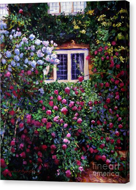 English Manor House Roses Canvas Print by David Lloyd Glover