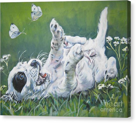 Cabbage Canvas Print - English Setter Puppy And Butterflies by Lee Ann Shepard