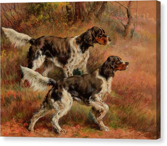 Golden Retrievers Canvas Print - English Setters by Edmund Henry Osthaus