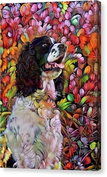 English Springer Spaniel In The Garden Canvas Print