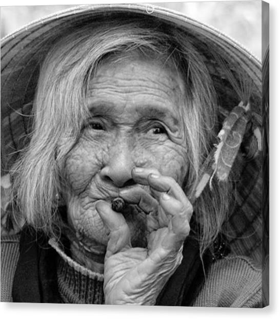 Vietnamese Canvas Print - Enjoing A Cigar. #blackandwhite by Jesper Staunstrup
