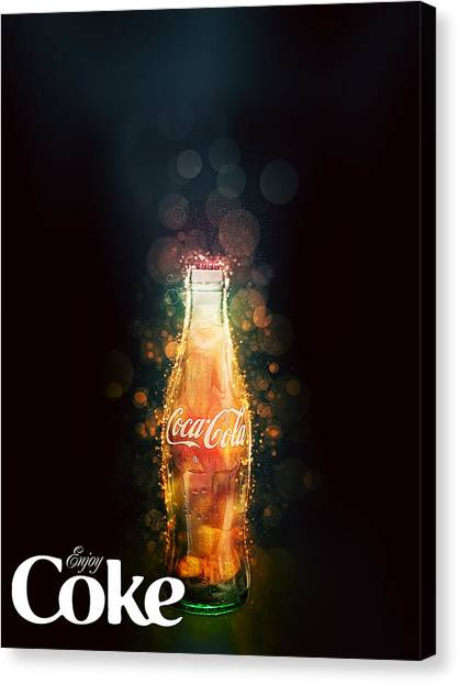 Enjoy Coca-cola With Bubbles Canvas Print