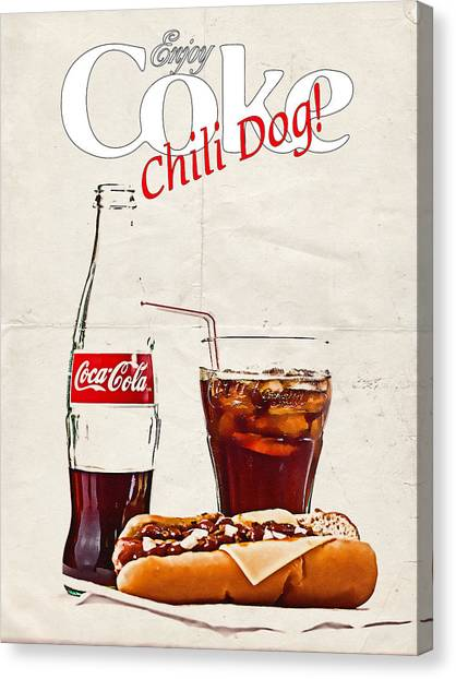 Enjoy Coca-cola With Chili Dog Canvas Print
