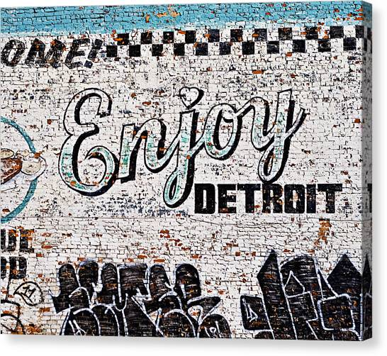 Graffiti Walls Canvas Print - Enjoy Detroit Graffiti by Alanna Pfeffer