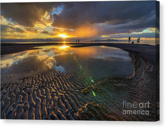 Enjoying A Sunset At The Great Salt Lake Canvas Print
