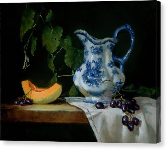 Canteloupes Canvas Print - Enjoying The Harvest by Barbara A Jones