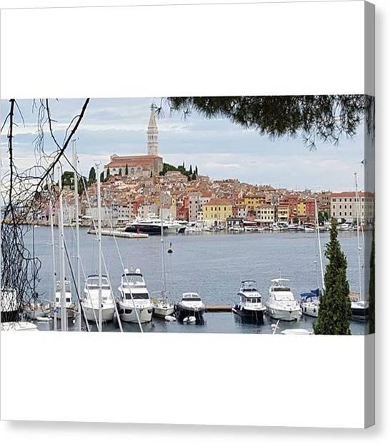 Yachts Canvas Print - Rovinj, Croatia by Travel Pics