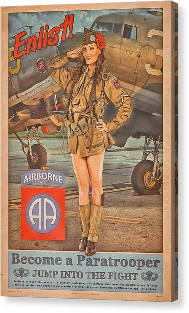 Paratroopers Canvas Print - Enlist In The 82nd Airborne by Britt Dietz