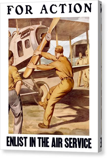 Airplanes Canvas Print - Enlist In The Air Service by War Is Hell Store