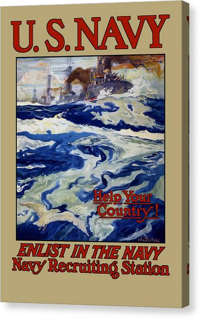 Battleship Canvas Print - Enlist In The Navy - Help Your Country by War Is Hell Store