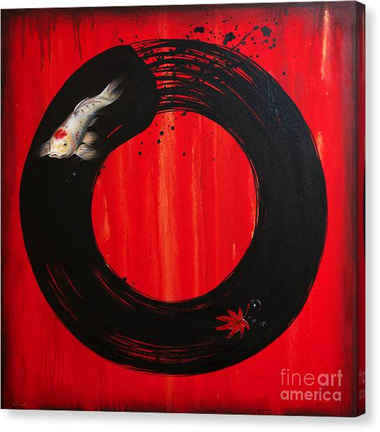 Enso With Koi Red And Gold Canvas Print
