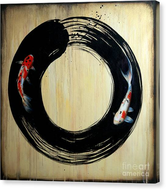 Enso With Koi Canvas Print