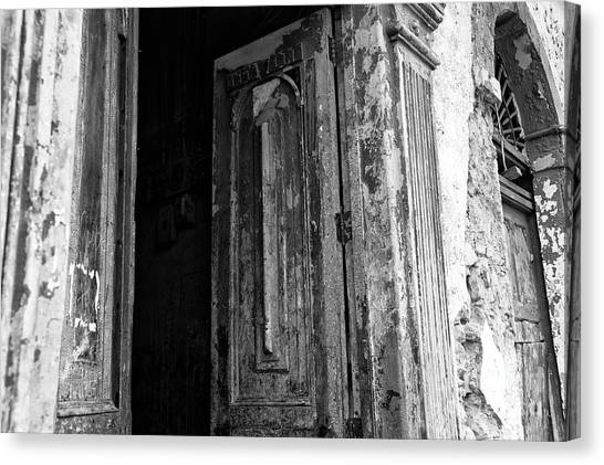 Enter At Your Own Risk Mono Canvas Print by John Rizzuto