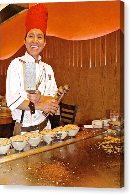 Entertaining Chef At Benihana In Monterey-california Canvas Print