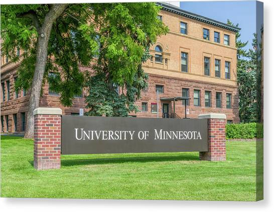 University Of Minnesota - Twin Cities Canvas Print - Entrance Sign And Wulling Hall On The Campus Of The University O by Ken Wolter