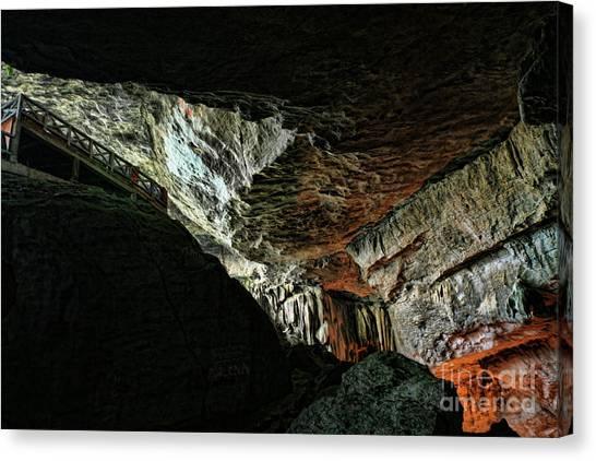 Limestone Caves Canvas Print - Entrance Sung Slot Cave Vietnam by Chuck Kuhn