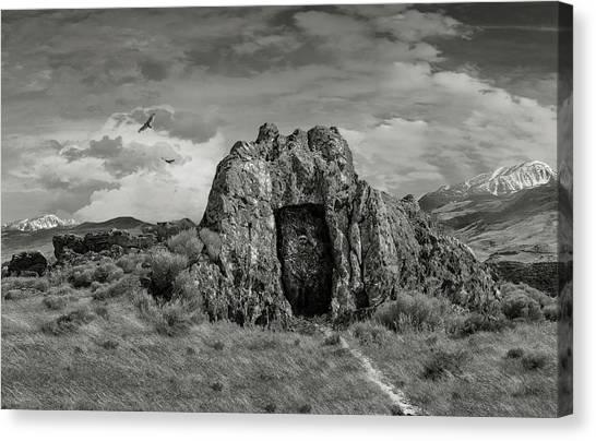 Fantasy Cave Canvas Print - Entrance To Khazad Dum Bw by Rick Mosher