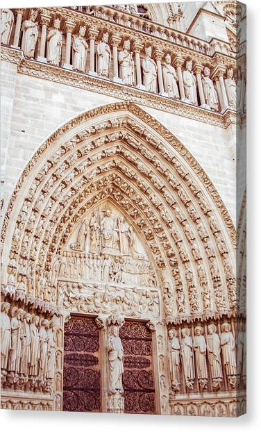 Entrance To Notre Dame Cathedral Canvas Print