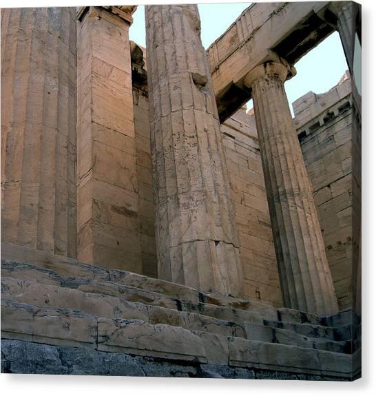Entrance To Past Life   Acropolis Canvas Print by Blima Efraim